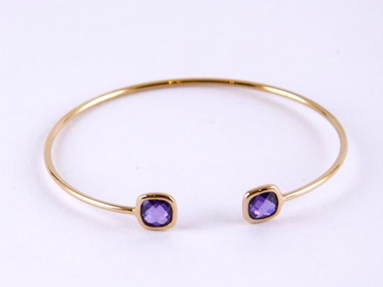 Bracelet jonc en plaqué or, violet