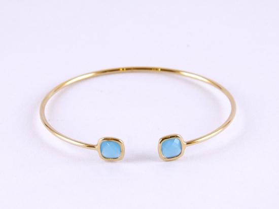 Bracelet jonc en plaqué or, bleu