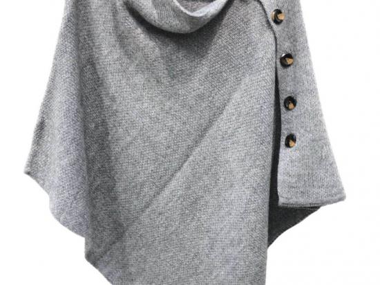 Poncho, bouton sur le côté, gris