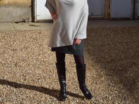 Poncho 100% cachemire, gris perle