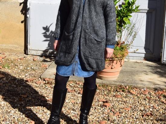 Veste longue en mohair, grise