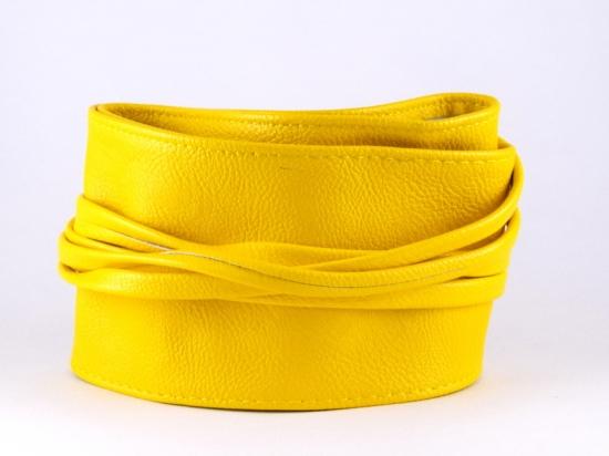 Ceinture à nouer en simili cuir, jaune