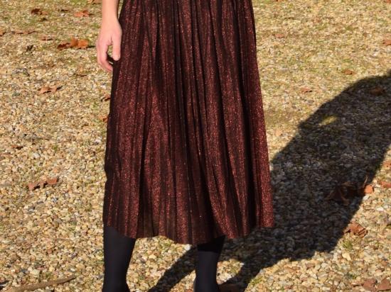 Jupe plissée mi longue à paillettes, bronze