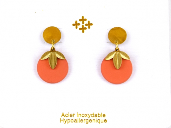 Boucles d'oreilles feuilles dorées, orange