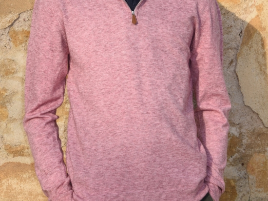 Pull homme, col camionneur, rose chiné