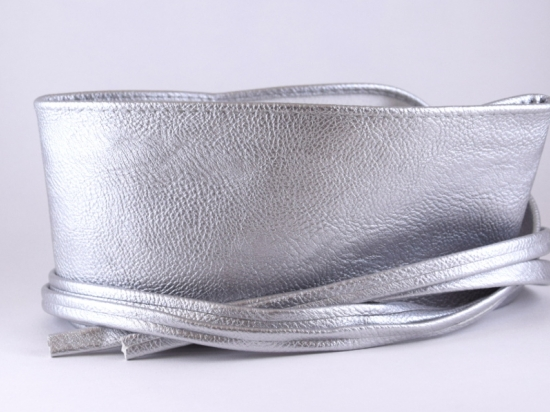 Ceinture à nouer en simili cuir, argenté mat