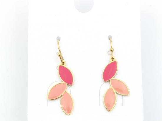 Boucles d'oreilles acier laqué, roses