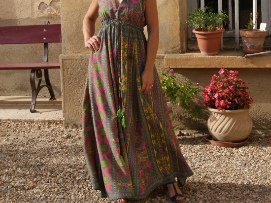 Robe longue, imprimée foulard vert (T2)