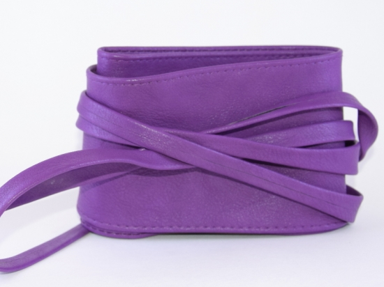 Ceinture à nouer en simili cuir, violet