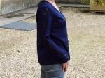 Blouse manches et dos en dentelle, bleu marine (S ou M)
