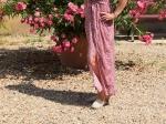 Robe longue, petits volants sur les épaules, fleurie rouge, 65% coton, 35% viscose (Nouveauté)