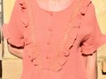Robe 100% coton, plastron, abricot
