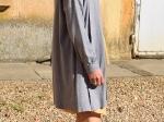 Veste longue en maille, grise