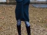Veste longue en mohair, bleu canard