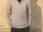 Pull homme, col camionneur, beige