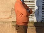 Pull homme, col camionneur, orange
