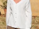 Top habillé 100% coton, manches longues, pastilles dorées