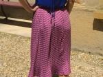 Jupe plissée mi longue, imprimée rose (S/M)