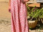Robe longue fleurie, rose (Nouveauté) (S ou M)