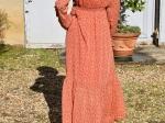 Robe longue fleurie orange