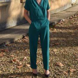 Combi pantalon, petites manches, verte (S, M ou L)