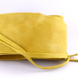 Ceinture à nouer en simili cuir, jaune clair