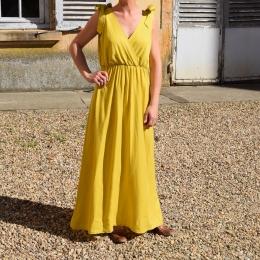 Robe longue taille unique, jaune