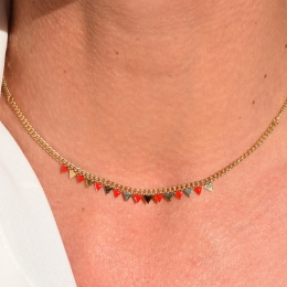 Collier petits triangles, rouge