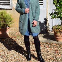 Veste longue en mohair, bleu vert