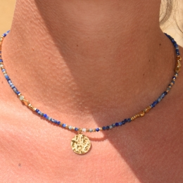 Collier, pierres naturelles, bleu