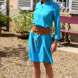 Robe 100% coton Inde, turquoise (S, M ou L)