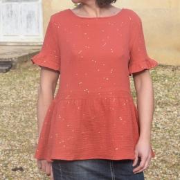 Top habillé 100% coton, brique, paillettes dorées