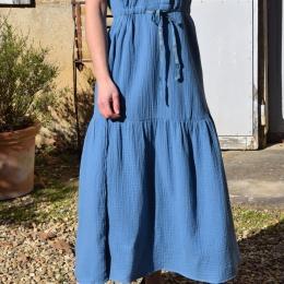 Robe longue 100% coton, bleue (S)