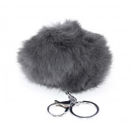 Porte clef en fourrure de lapin, gris teinté