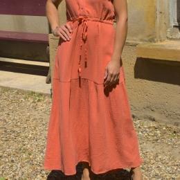 Robe longue 100% coton, abricot