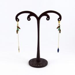 Boucles d'oreilles plumes, bleu roi et turquoise
