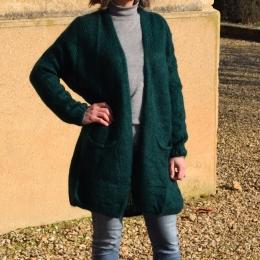 Pull en mohair, fabrication italienne, vert bouteille