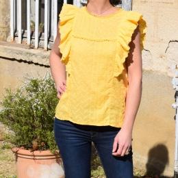 Top 100% coton, jaune