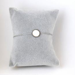 Bracelet pastille en nacre, argenté