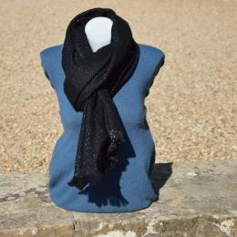 Châle ou écharpe noire à chevron, fil lurex brillant