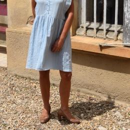 Robe bleu ciel, lin et viscose (S ou M)