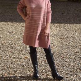 Robe pull rose et dorée, taille unique