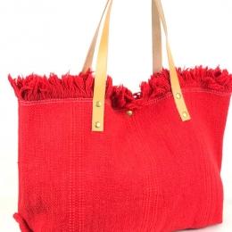 Grand cabas en coton, anses en cuir, rouge
