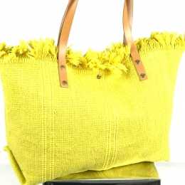Grand cabas en coton, anses en cuir, jaune