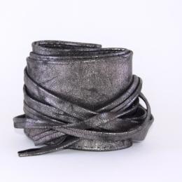 Ceinture à nouer en simili cuir, gris métallisé