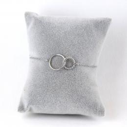 bracelet double anneaux argentés