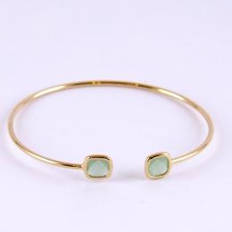 Bracelet jonc en plaqué or, vert
