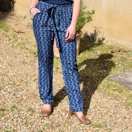 Pantalon fluide, bleu
