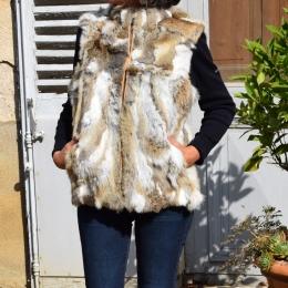 Gilet patchwork en fourrure de lapin, beige naturel