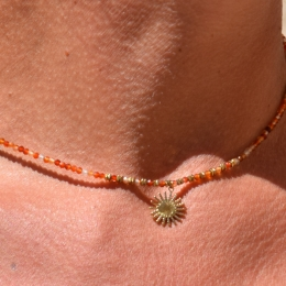 Collier, pierres naturelles, orange